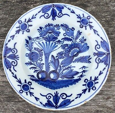 "Old Antique Late 18th Early 19th Century Tin Glaze Dutch Delft Pottery 9"" Plate"