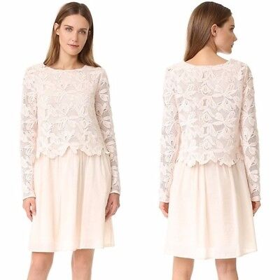 NWT $595 SEE BY CHLOE  Lace Floral Long Sleeve Lace Blush Pink Dress 38 US 6