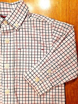 Gymboree-Baby Boys-Size 12-18 Months-Red / Blue Plaid-Striped-Easter Dress Shirt