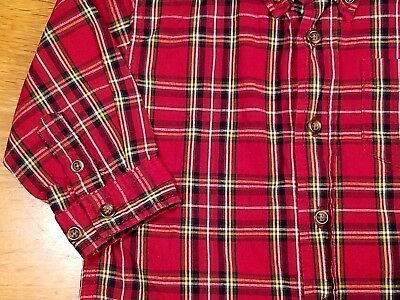 Childrens Place-Baby Boys-Size 12 Months-Red-Yellow-Plaid-Easter Dress Shirt
