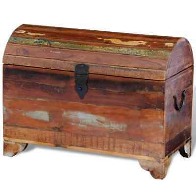 Antique Tripped Weathered Reclaimed Solid Wood Trunk Storage Treasure Chest Box