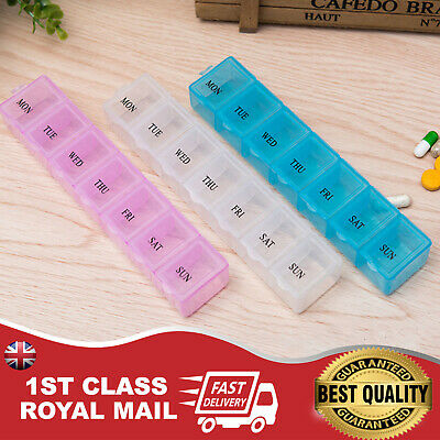 UK Portable 7 Day Pill Box Organizer Daily Weekly Tablet Travel Medicine UK LNND