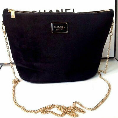 728eb4c39187 CHANEL Black Velvet Makeup Bag with Gold Chain Cosmetic Pouch VIP Gift new  2019