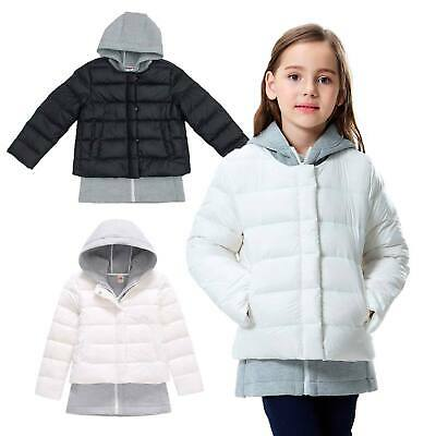 Girls Two Piece Outfit Set - Winter Warm Down Puffer Jacket & Hoody Black White