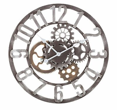 Large Metal Skeleton Wall Clock Antique gold Home Decor Round 60cm Indoor & Out