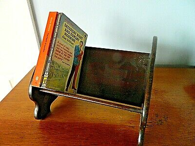 Vintage Decorative Brown Wooden Book Stand, Book Cradle, Tabletop Stand,  Shelf