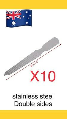 10pcs Dual Sided Stainless Steel Metal Nail File Art Pedicure Manicure Tool..