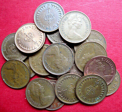 Britain Bag Of Ten Collectable Mixed Dates Withdrawn Decimal Half Pence Coins