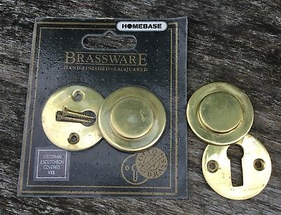 2 Solid Brass Victorian Covered Key Escutcheon - 1 New In Packet