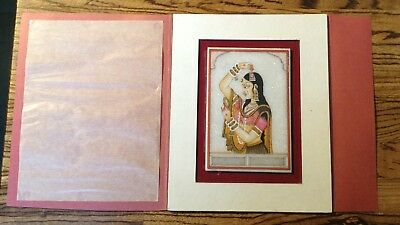 Small Old Vintage Antique Detailed Indian Painting Woman Dancer Marble Granite
