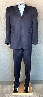 """'Ted Baker' navy pinstriped suit, size 36"""" waist, L."""