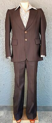 1970's Chocolate brown pinstriped suit, flared pants, by 'Rodmil' Australia, ...