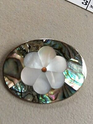 Vintage Mexican Brooch Pendant Alpaca Silver Abalone MOP Flower Pin