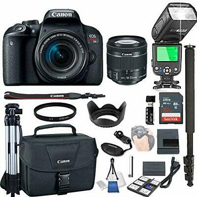 Canon EOS Rebel T7i with 18-55mm f/4-5.6 is STM + 32GB Memory + TTL Speed Light