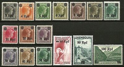 Germany Third Reich 1940 MNH German Occupation Luxembourg Set Mi 17-32 SG 413/28