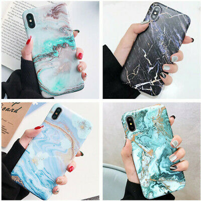 For iPhone 7 8 6s Plus XR XS Max Case Shockproof Silicon Art Glossy Marble Cover