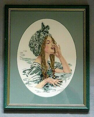 Vintage Cross Stitch Picture of a Young Women Swimming - Complete with Frame