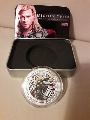 Marvel Avengers 'Mighty Thor' Collectors Coin 1oz Silver Plated With Tin Gift