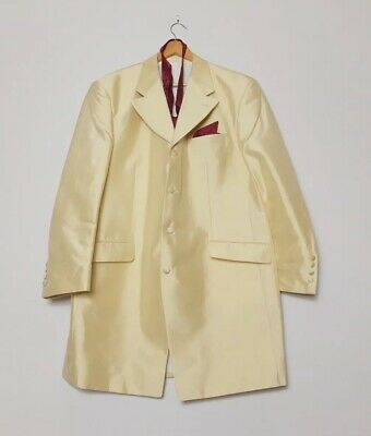 Anthony Exclusive Formal Wear Cream Wedding Jacket With Burgundy Cravat XXL