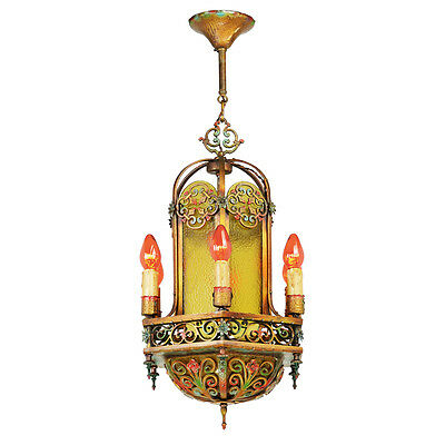 Antique 1920s Chandelier Polychrome Candle Type Ceiling Light Fixture (ANT-829)
