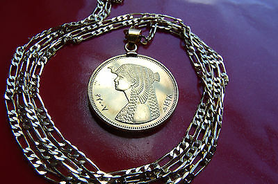 "Cleopatra Golden Egyptian Pendant choice of 18"" to 28"" Gold Filled Link Chain"
