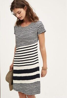 6175a423de0a Anthropologie Maeve Size Medium Haven Navy Blue/White Striped Shift Dress