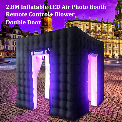 2.8M Inflatable Photo Booth LED Lighting Tent Air Pump 2 Doors+Remote Controller