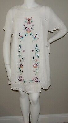 Umgee USA Boho Embroidered Floral Tunic Dress Off White - Plus XL 1XL - New!