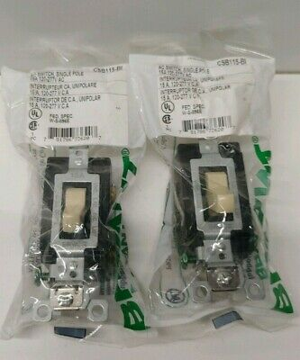 Lot Of (2) New Old Stock! Bryant 15A 120/277V Single Pole Switches Csb115-Bi