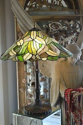 Vintage X Large Tiffany Style Art Stained Glass Lamp Flowers