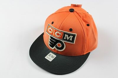 fefe0e26 New CCM Size S/M Philadelphia Flyers NHL Hockey Spell Out Fitted Hat Cap  Orange