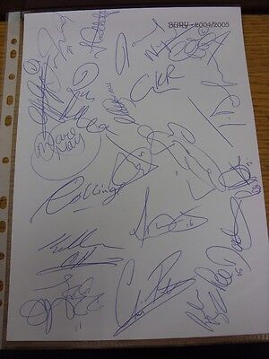 2004/2005 Bury: Autographs - Hand Signed By 20 Players/Officials On Club Headed