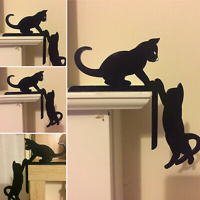 Cats climbing Door / Window Topper Silhouettes Handmade & Painted