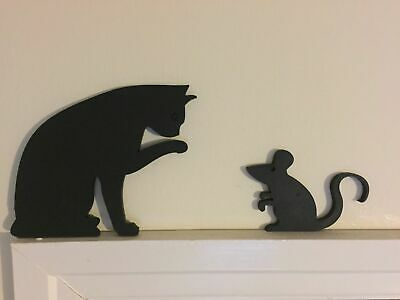 Cat and Mouse Door / Window Topper Silhouettes Handmade & Painted