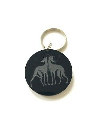 Greyhound Galgo Dog Keyring Keychain Bag Charm Gift in Black