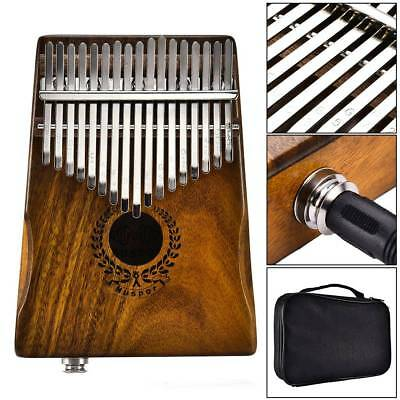 17 Keys EQ Kalimba Solid Acacia Thumb Piano Link Speaker Electric Pickup & Bag