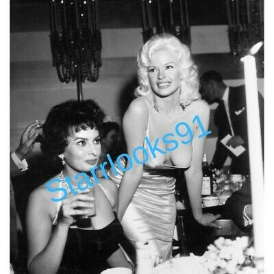 Sophia Loren & Jayne Mansfield At A Party In 1957- 8X10 Publicity Photo Smiling