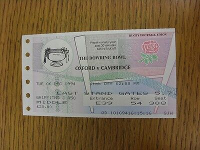 06/12/1994 Ticket: Rugby Union - Varsity Match - Oxford University v Cambridge U