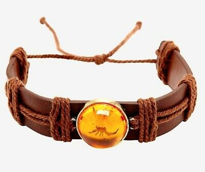 New Jurassic Park Mosquito In Amber Faux Leather Bracelet