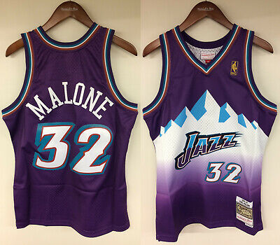 c027bae575b5 NWT KARL MALONE  32 NBA Utah Jazz Swingman Jersey Throwback Hardwood ...