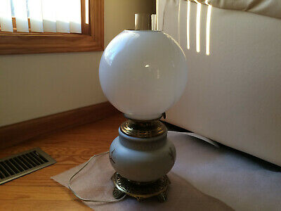 """Antique Hand Painted Victorian Converted Gone with the Wind Banquet Lamp 18""""rare"""