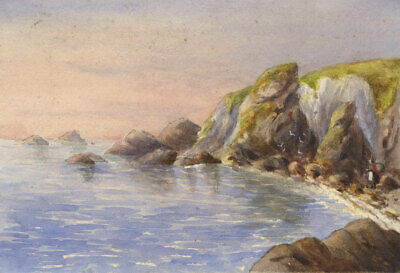 Early 20Th Century Watercolour - Figure By The Sea