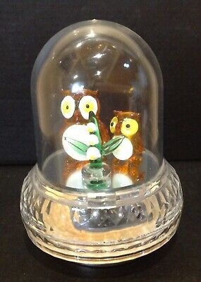 REVOLVING  Domed Music Box with glass OWLS -JAPAN