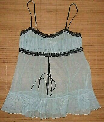 Victoria's Secret Blue Black Lace Negligee NIghtgown Size XS