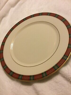 LENOX Fine China ~ Winter Greetings Plaid Gold Rim Four Replacement Pieces ~ NWT
