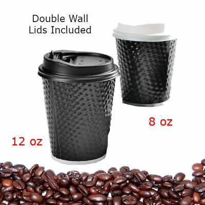 100/200/400/1000/2000 Disposable Coffee Cups 8Oz 12Oz Double Wall Lids Cup Bulk