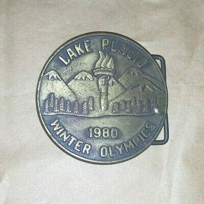 Vintage 1980 Lake Placid USA Winter Olympics Belt Buckle - EUC