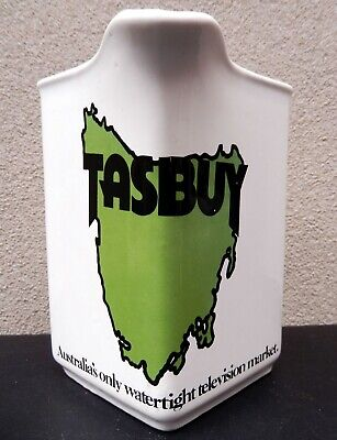 TASBUY Elischer Advertising Jug Tasmania TV TVT6 TNT9 Australian Pottery 1970s