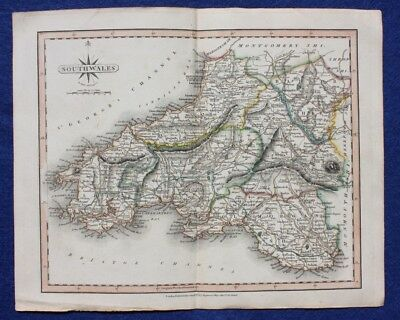 Original antique map SOUTH WALES, SWANSEA, J. Cary, 1809
