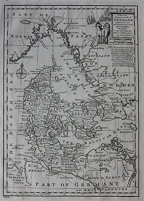 Original antique map DENMARK, 'A New and Accurate map of Denmark', E Bowen, 1747